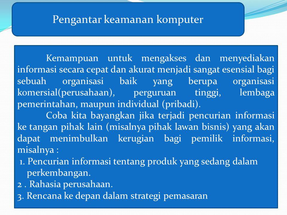 Pengantar keamanan komputer Kemampuan untuk mengakses dan menyediakan informasi secara cepat dan akurat menjadi sangat esensial bagi sebuah organisasi