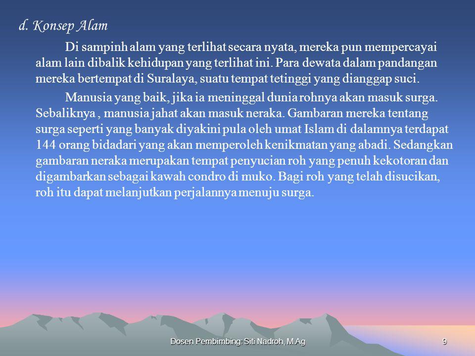 Dosen Pembimbing: Siti Nadroh, M.Ag9 d.