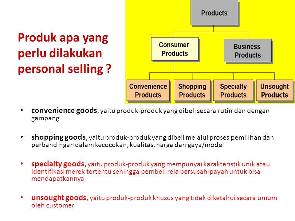 Produk apa yang perlu dilakukan personal selling .