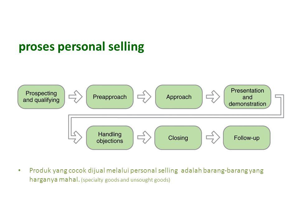 proses personal selling Produk yang cocok dijual melalui personal selling adalah barang-barang yang harganya mahal.