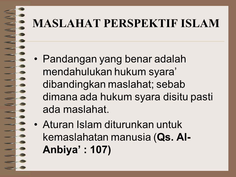 ATURAN ISLAM MEMBAWA MASLAHAT Yang menentukan maslahat atau mafsadat adalah Allah SWT sebagai Al Khaliq dan Al Mudabbir Manusia cenderung salah dalam menentukan maslahat (QS.