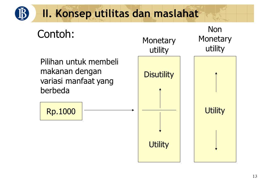 13 II. Konsep utilitas dan maslahat Contoh: Rp.1000 Disutility Utility Monetary utility Non Monetary utility Pilihan untuk membeli makanan dengan vari