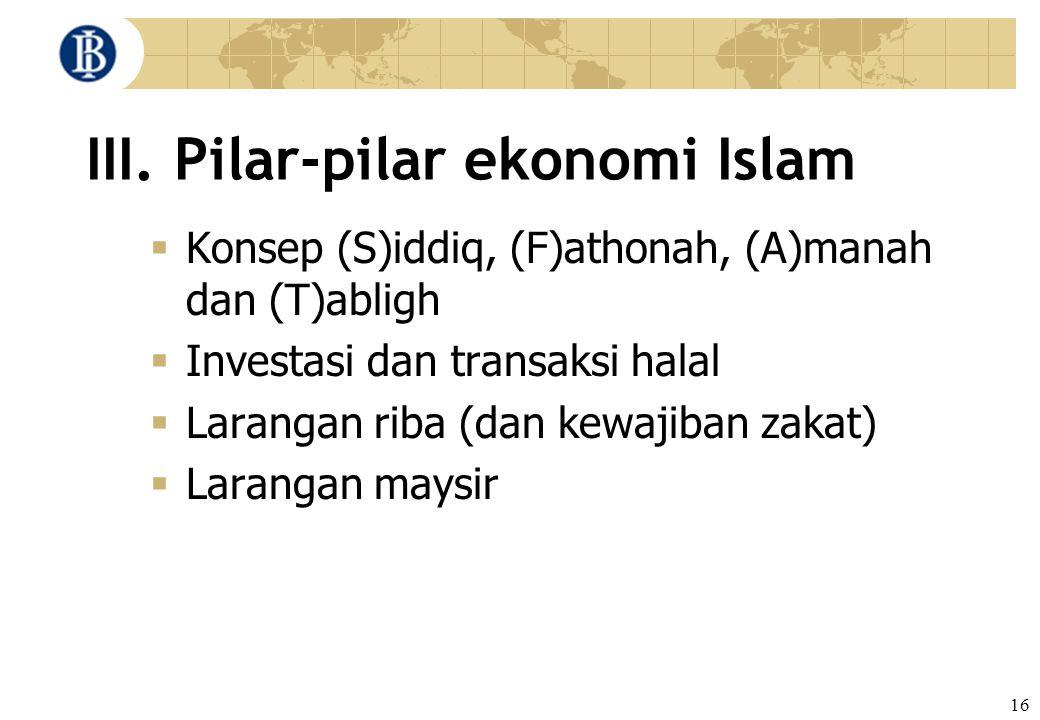 16 III. Pilar-pilar ekonomi Islam  Konsep (S)iddiq, (F)athonah, (A)manah dan (T)abligh  Investasi dan transaksi halal  Larangan riba (dan kewajiban