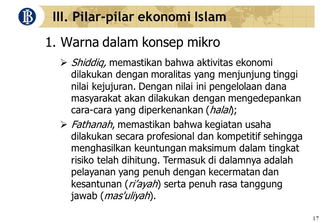 17 III. Pilar-pilar ekonomi Islam 1. Warna dalam konsep mikro  Shiddiq, memastikan bahwa aktivitas ekonomi dilakukan dengan moralitas yang menjunjung