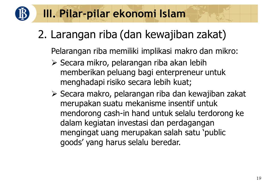 19 III. Pilar-pilar ekonomi Islam 2. Larangan riba (dan kewajiban zakat) Pelarangan riba memiliki implikasi makro dan mikro:  Secara mikro, pelaranga