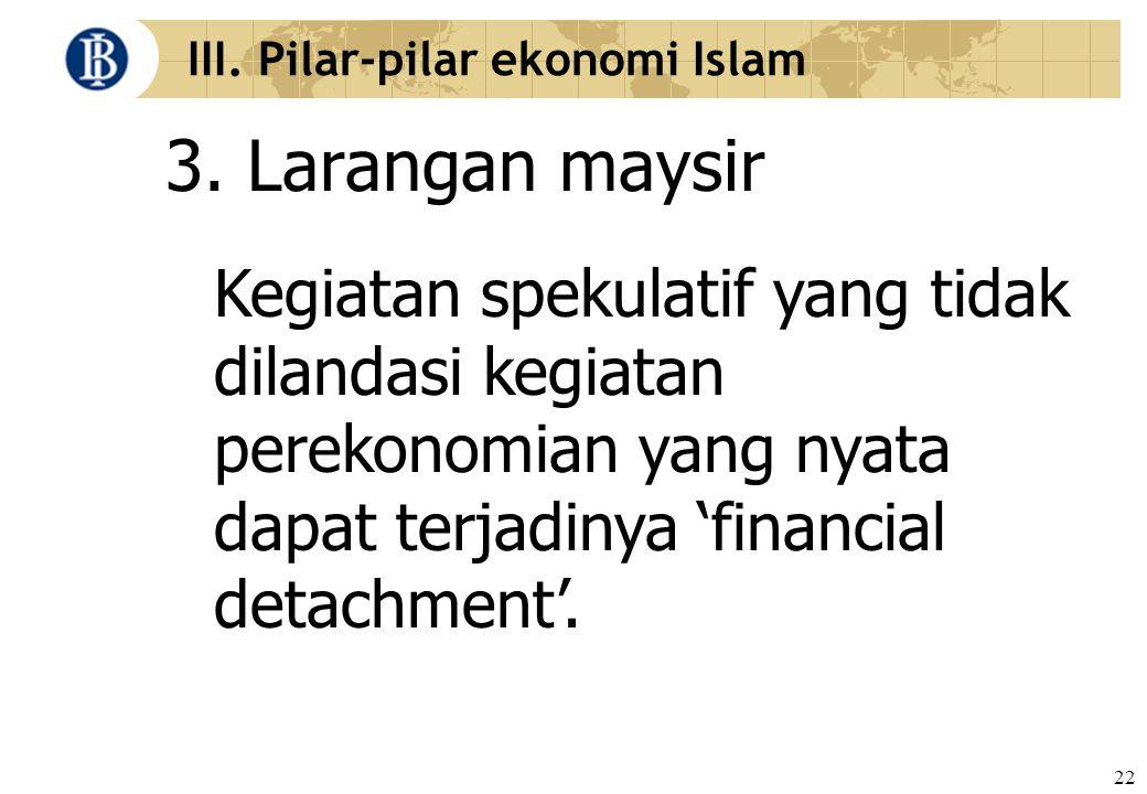 22 III. Pilar-pilar ekonomi Islam 3. Larangan maysir Kegiatan spekulatif yang tidak dilandasi kegiatan perekonomian yang nyata dapat terjadinya 'finan