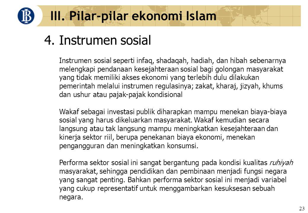 23 III. Pilar-pilar ekonomi Islam 4. Instrumen sosial Instrumen sosial seperti infaq, shadaqah, hadiah, dan hibah sebenarnya melengkapi pendanaan kese
