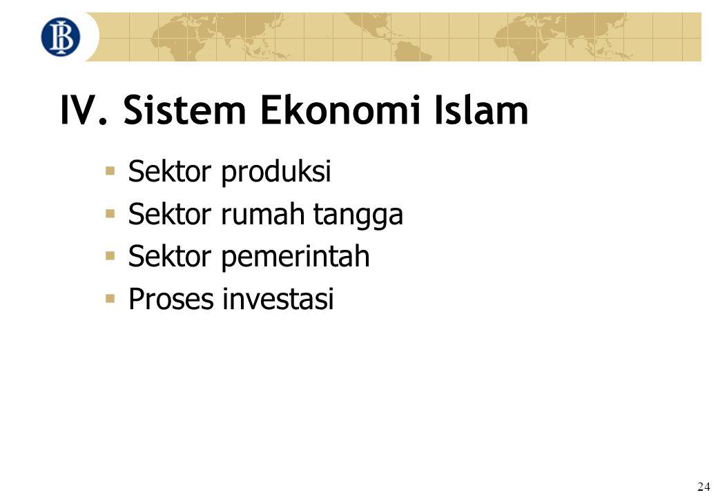 24 IV. Sistem Ekonomi Islam  Sektor produksi  Sektor rumah tangga  Sektor pemerintah  Proses investasi