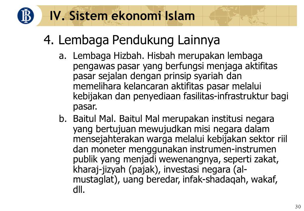 30 IV. Sistem ekonomi Islam 4. Lembaga Pendukung Lainnya a. Lembaga Hizbah. Hisbah merupakan lembaga pengawas pasar yang berfungsi menjaga aktifitas p