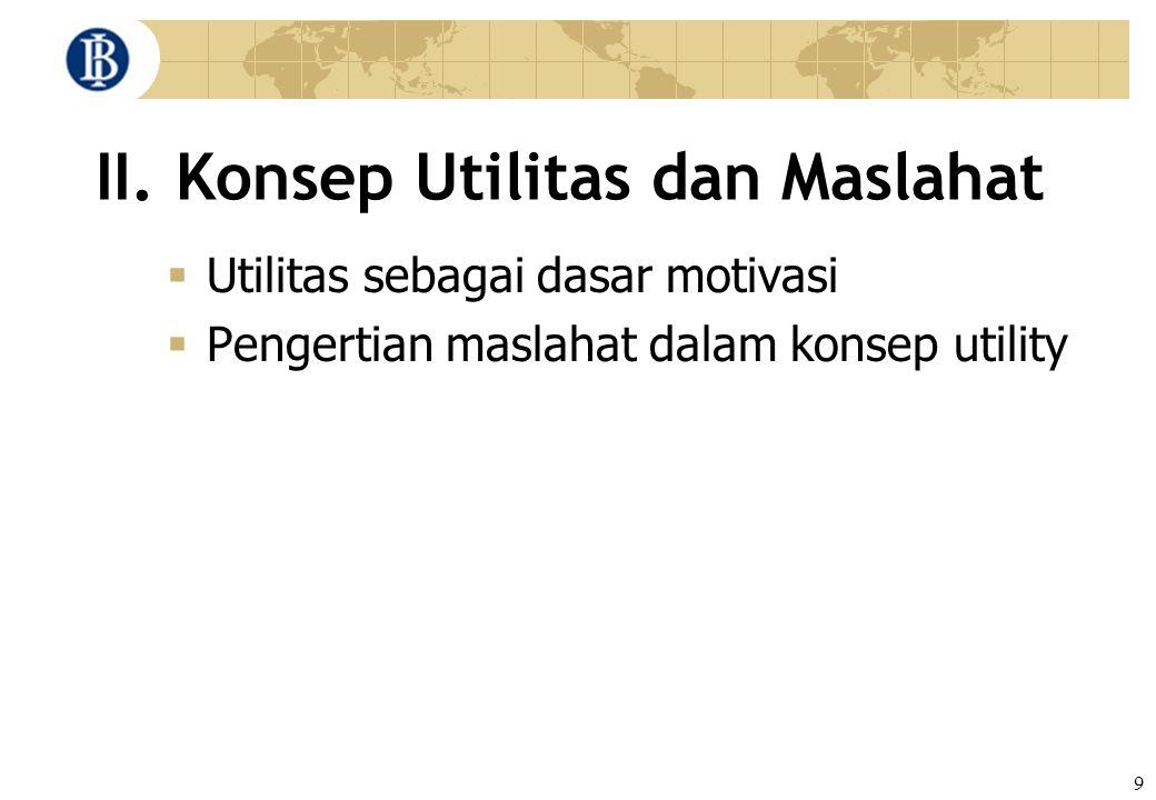9 II. Konsep Utilitas dan Maslahat  Utilitas sebagai dasar motivasi  Pengertian maslahat dalam konsep utility