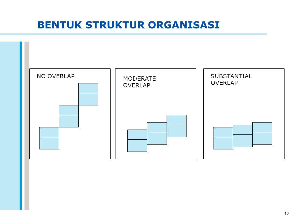 10 BENTUK STRUKTUR ORGANISASI NO OVERLAP MODERATE OVERLAP SUBSTANTIAL OVERLAP