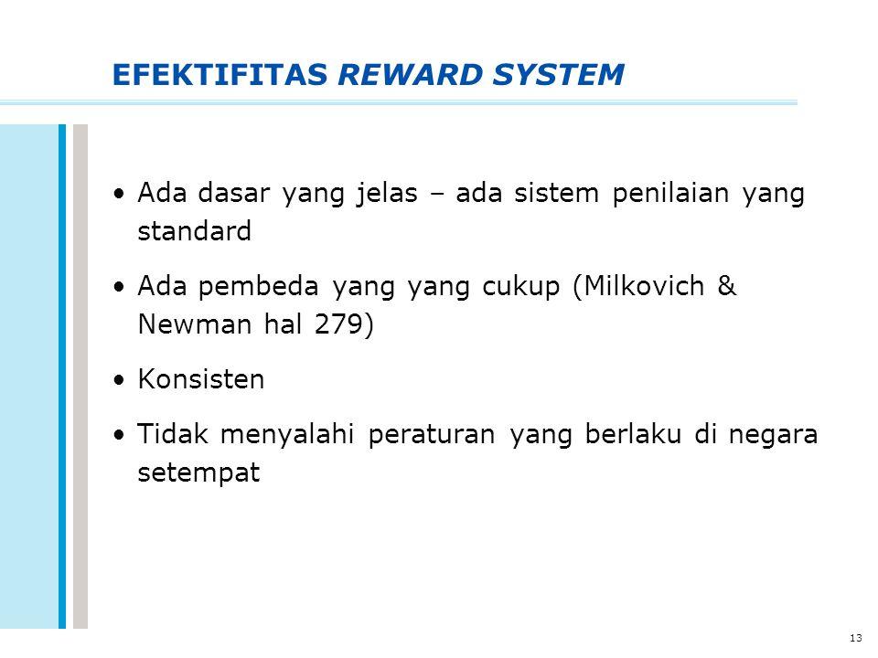 13 EFEKTIFITAS REWARD SYSTEM Ada dasar yang jelas – ada sistem penilaian yang standard Ada pembeda yang yang cukup (Milkovich & Newman hal 279) Konsis