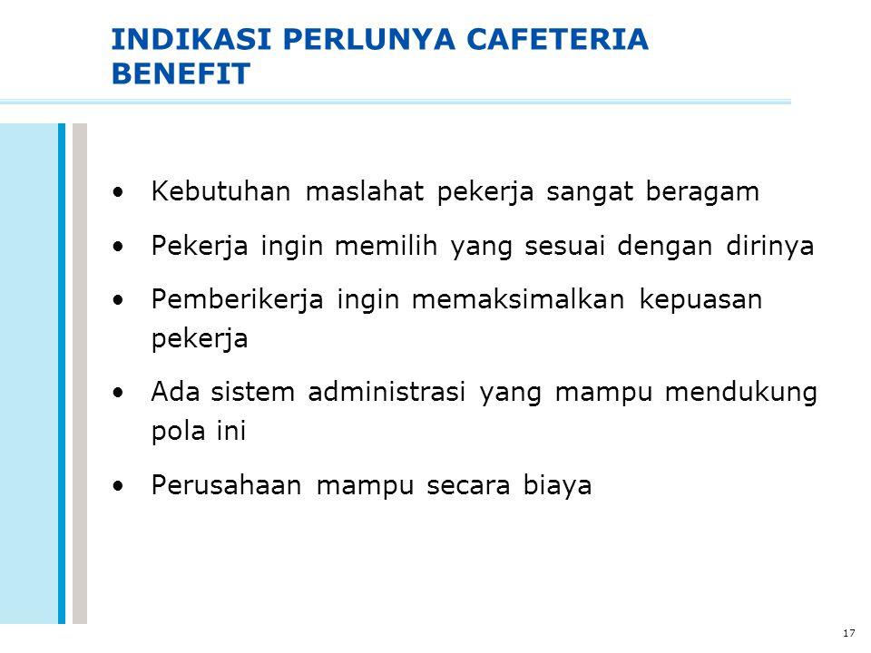 17 INDIKASI PERLUNYA CAFETERIA BENEFIT Kebutuhan maslahat pekerja sangat beragam Pekerja ingin memilih yang sesuai dengan dirinya Pemberikerja ingin m