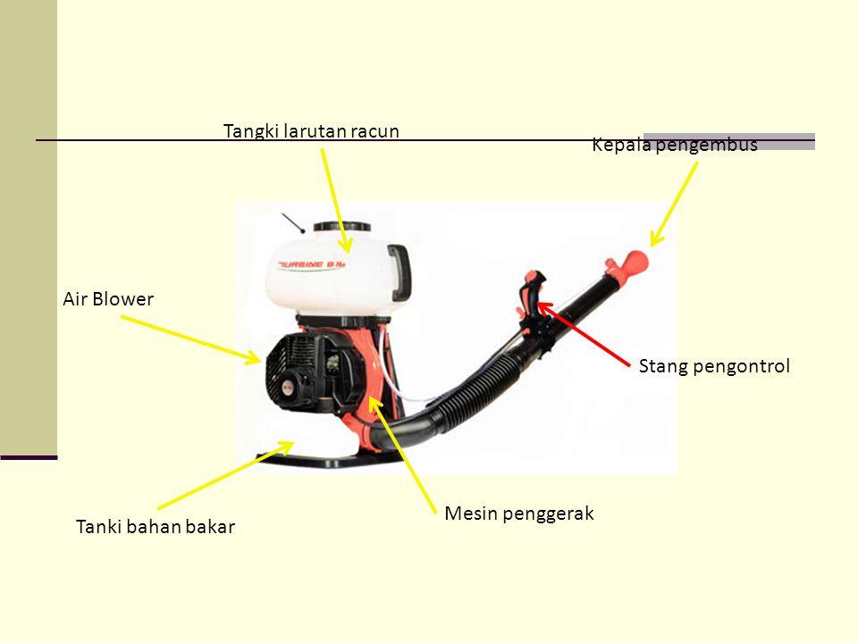 Tangki larutan racun Air Blower Mesin penggerak Tanki bahan bakar Kepala pengembus Stang pengontrol