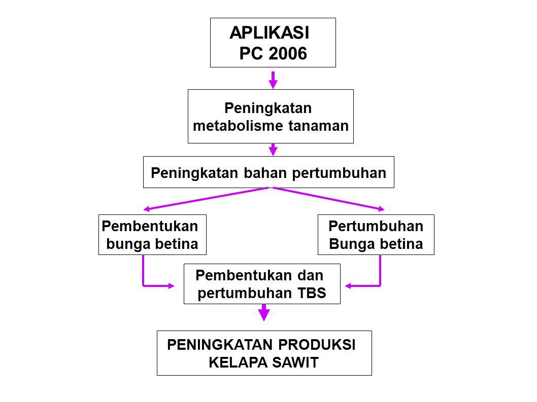 APLIKASI PC 2006 Peningkatan metabolisme tanaman Peningkatan bahan pertumbuhan Pembentukan bunga betina Pertumbuhan Bunga betina Pembentukan dan pertu
