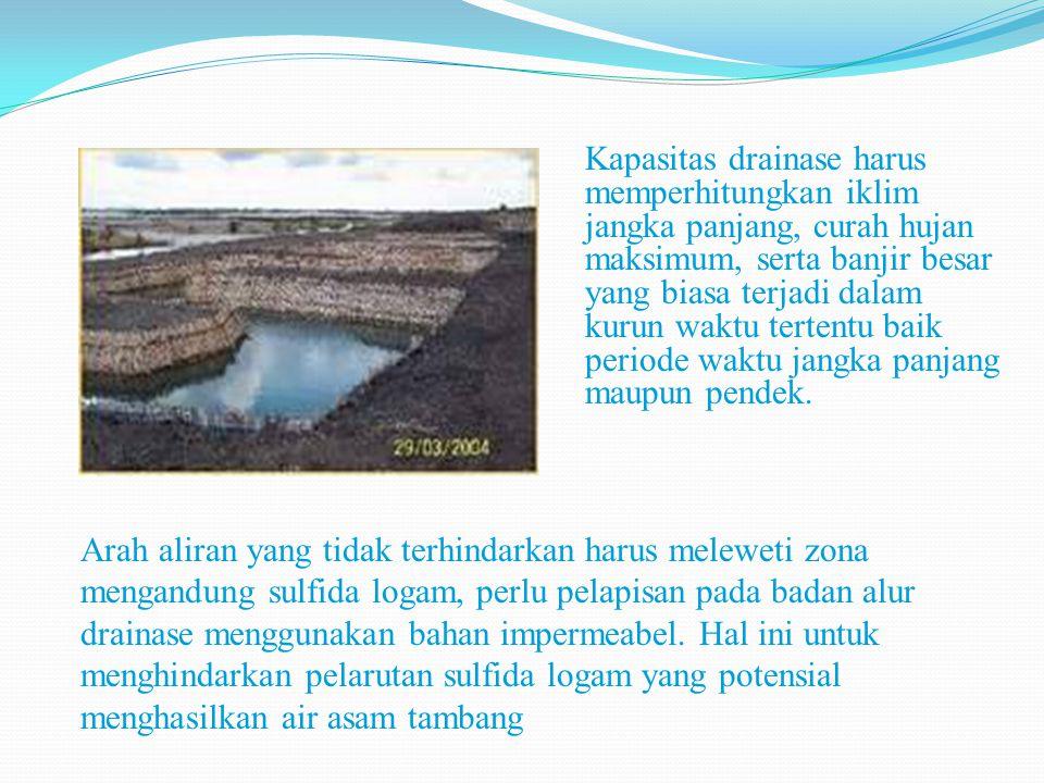 Kapasitas drainase harus memperhitungkan iklim jangka panjang, curah hujan maksimum, serta banjir besar yang biasa terjadi dalam kurun waktu tertentu