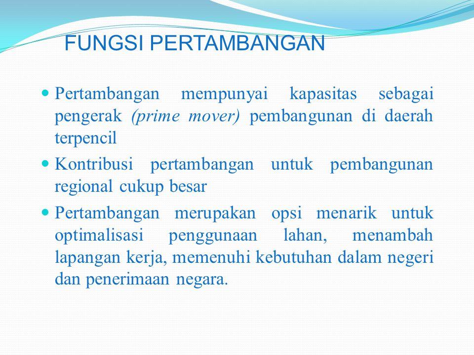 Pertambangan mempunyai kapasitas sebagai pengerak (prime mover) pembangunan di daerah terpencil Kontribusi pertambangan untuk pembangunan regional cuk