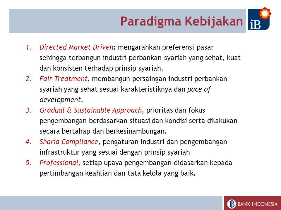 1.Directed Market Driven; mengarahkan preferensi pasar sehingga terbangun industri perbankan syariah yang sehat, kuat dan konsisten terhadap prinsip syariah.