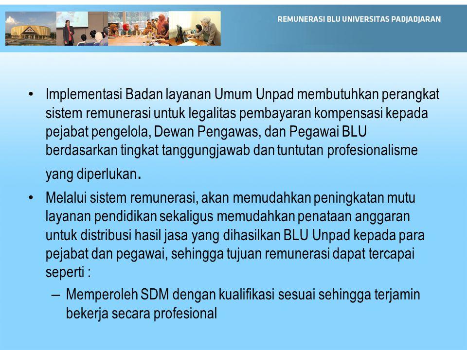 Implementasi Badan layanan Umum Unpad membutuhkan perangkat sistem remunerasi untuk legalitas pembayaran kompensasi kepada pejabat pengelola, Dewan Pe