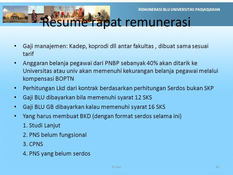 Resume rapat remunerasi Gaji manajemen: Kadep, koprodi dll antar fakultas, dibuat sama sesuai tarif Anggaran belanja pegawai dari PNBP sebanyak 40% ak