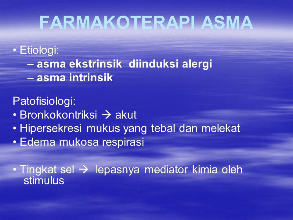 FARMAKOTERAPI ASMA Etiologi: – asma ekstrinsik diinduksi alergi – asma intrinsik Patofisiologi: Bronkokontriksi  akut Hipersekresi mukus yang tebal d