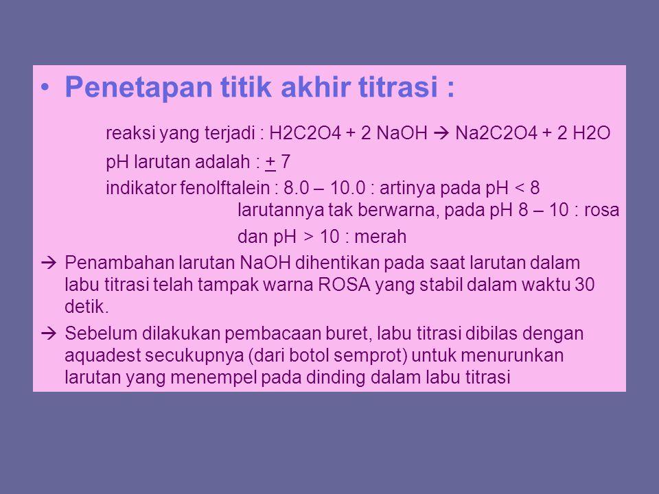 Penetapan titik akhir titrasi : reaksi yang terjadi : H2C2O4 + 2 NaOH  Na2C2O4 + 2 H2O pH larutan adalah : + 7 indikator fenolftalein : 8.0 – 10.0 :