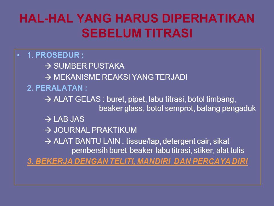 HAL-HAL YANG HARUS DIPERHATIKAN SEBELUM TITRASI 1. PROSEDUR :  SUMBER PUSTAKA  MEKANISME REAKSI YANG TERJADI 2. PERALATAN :  ALAT GELAS : buret, pi
