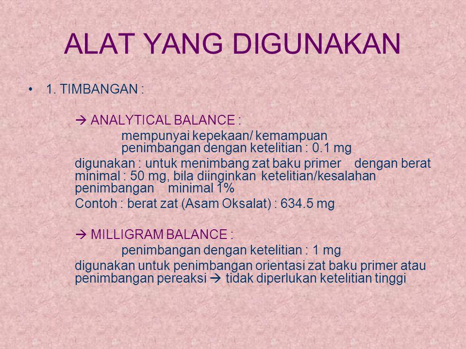 ALAT YANG DIGUNAKAN 1. TIMBANGAN :  ANALYTICAL BALANCE : mempunyai kepekaan/ kemampuan penimbangan dengan ketelitian : 0.1 mg digunakan : untuk menim