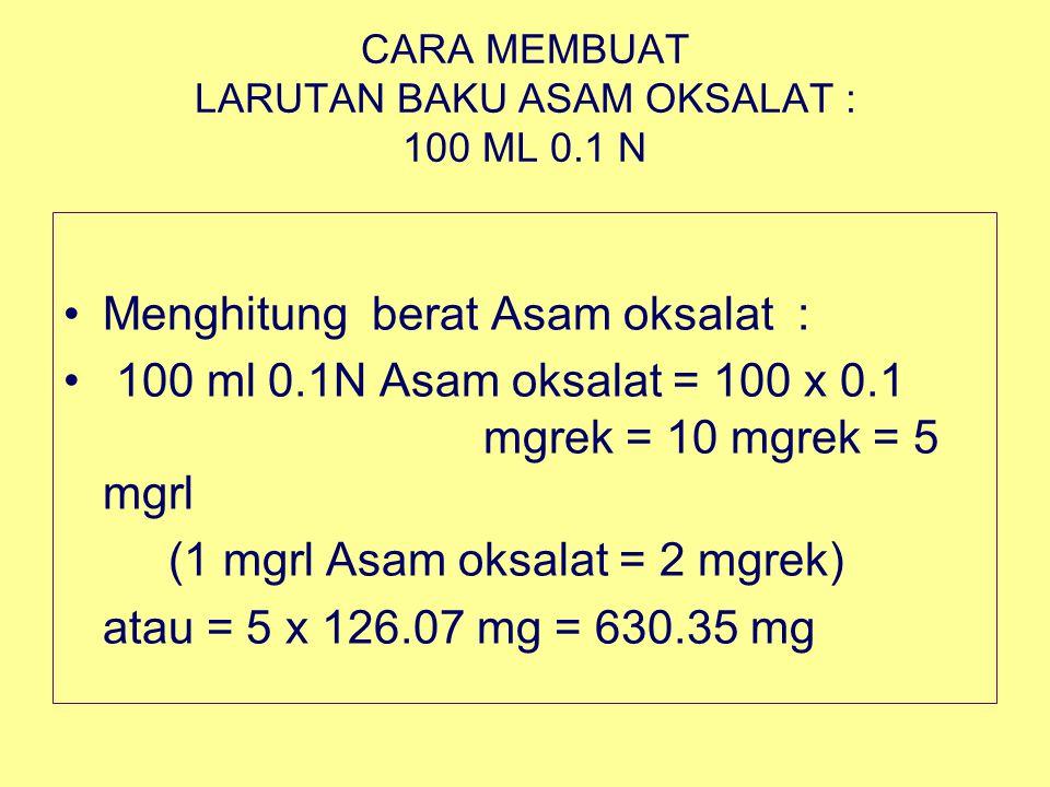 CARA MEMBUAT LARUTAN BAKU ASAM OKSALAT : 100 ML 0.1 N Menghitung berat Asam oksalat : 100 ml 0.1N Asam oksalat = 100 x 0.1 mgrek = 10 mgrek = 5 mgrl (