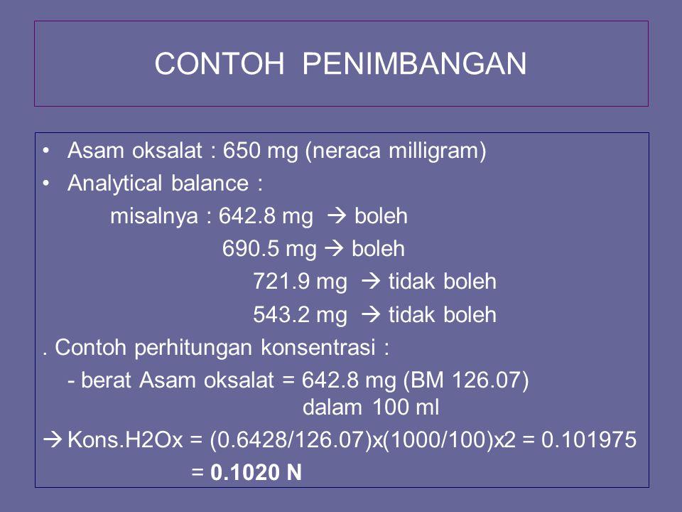 CONTOH PENIMBANGAN Asam oksalat : 650 mg (neraca milligram) Analytical balance : misalnya : 642.8 mg  boleh 690.5 mg  boleh 721.9 mg  tidak boleh 5