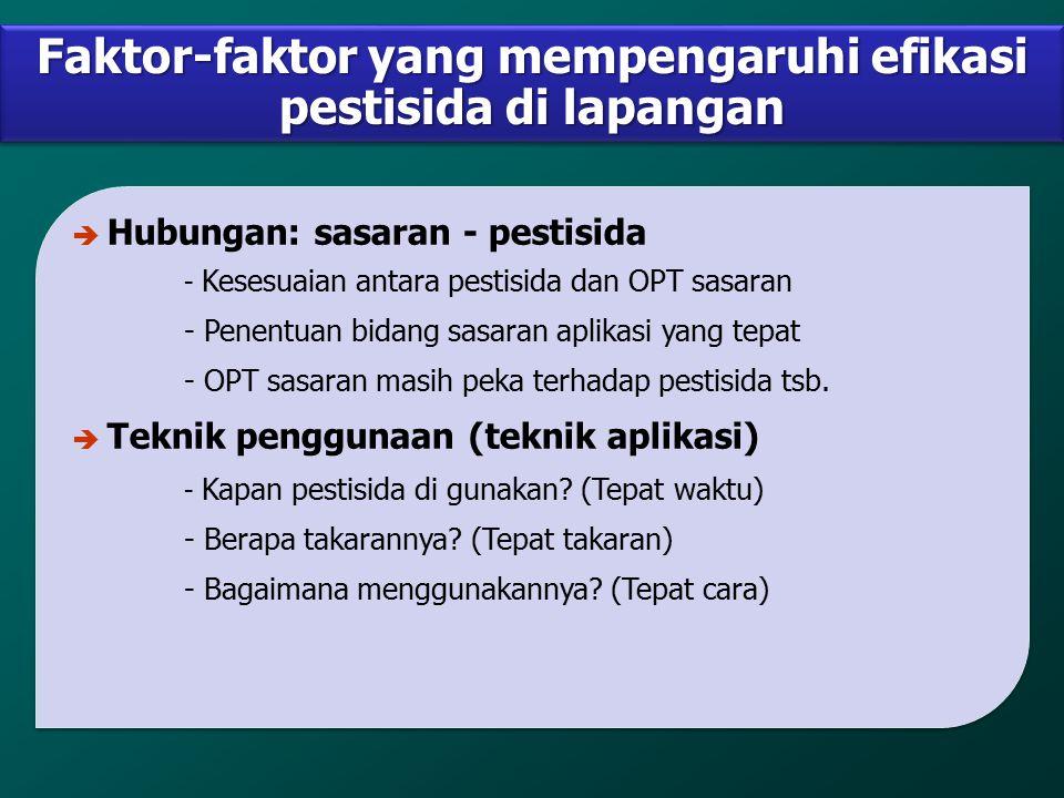 Faktor-faktor yang mempengaruhi efikasi pestisida di lapangan è Hubungan: sasaran - pestisida - Kesesuaian antara pestisida dan OPT sasaran - Penentua