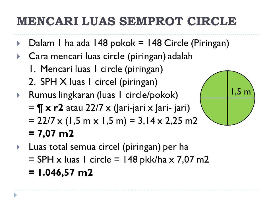 MENCARI LUAS SEMPROT PATH (PP)  Dalam 1 Path (PP) ada 2 baris tanaman @ 34 pkk sehingga, total pokok/path (PP) adalah = 2 BT x 34 pkk/BT = 68 pkk/path (PP)  Dalam 1 ha ada 148 pkk (SPH = 148 pkk/ha), sehingga jumlah Path (PP) adalah = SPH : Pkk/Path (PP) = 148 pkk/ha : 68 pkk/path = 2,18 Path/Ha atau 2,18 PP/Ha  Jika panjang path (PP) = 300 m maka luas path/ha = Panjang Path x Lebar Path x Jumlah Path/Ha = 300 m x 1,5 m x 2,18 Path/ha = 979 m2