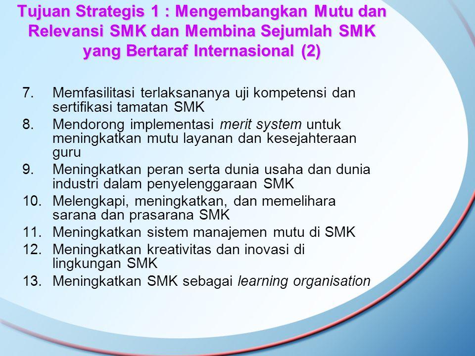 Tujuan Strategis 1 : Mengembangkan Mutu dan Relevansi SMK dan Membina Sejumlah SMK yang Bertaraf Internasional (2) 7.Memfasilitasi terlaksananya uji k