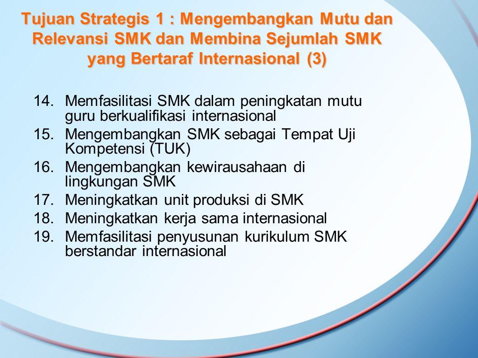 14.Memfasilitasi SMK dalam peningkatan mutu guru berkualifikasi internasional 15.Mengembangkan SMK sebagai Tempat Uji Kompetensi (TUK) 16.Mengembangka