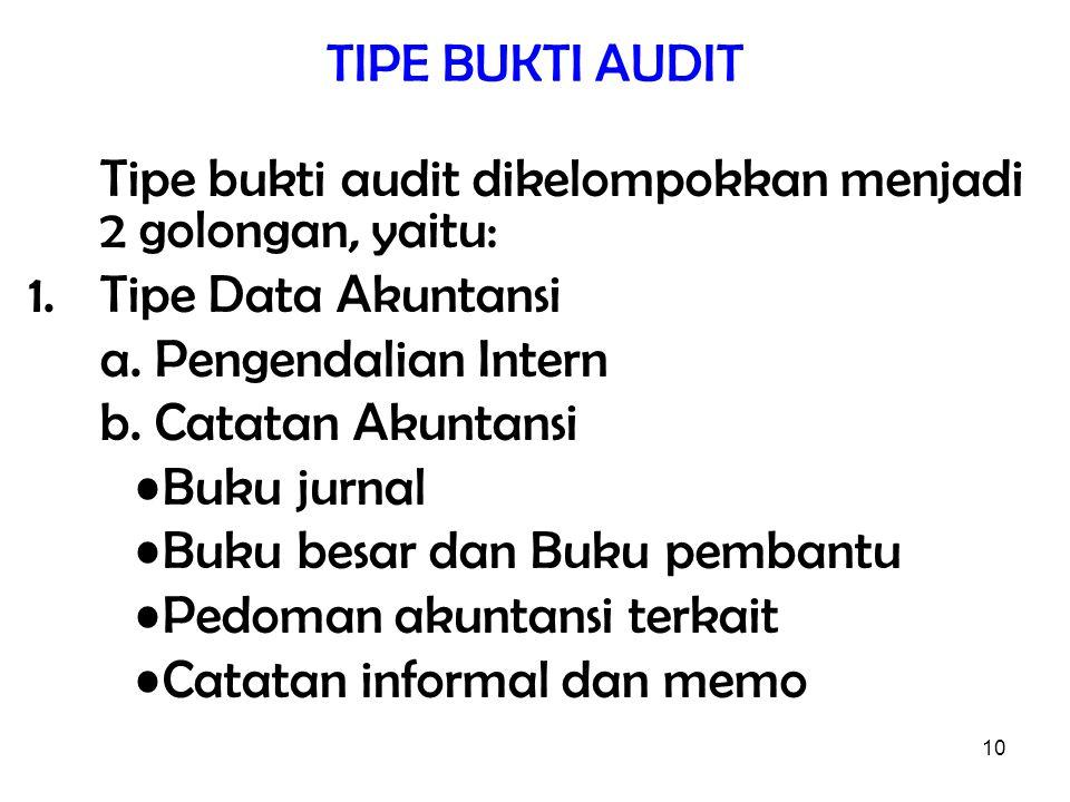 10 TIPE BUKTI AUDIT Tipe bukti audit dikelompokkan menjadi 2 golongan, yaitu: 1.Tipe Data Akuntansi a. Pengendalian Intern b. Catatan Akuntansi Buku j