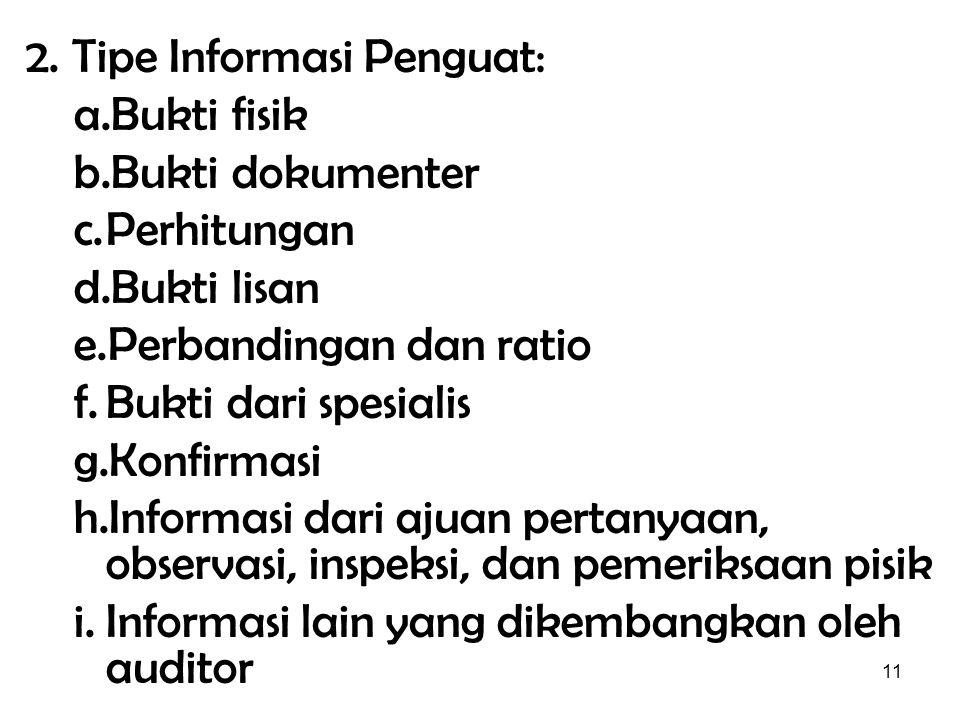 11 2. Tipe Informasi Penguat: a.Bukti fisik b.Bukti dokumenter c.Perhitungan d.Bukti lisan e.Perbandingan dan ratio f.Bukti dari spesialis g.Konfirmas