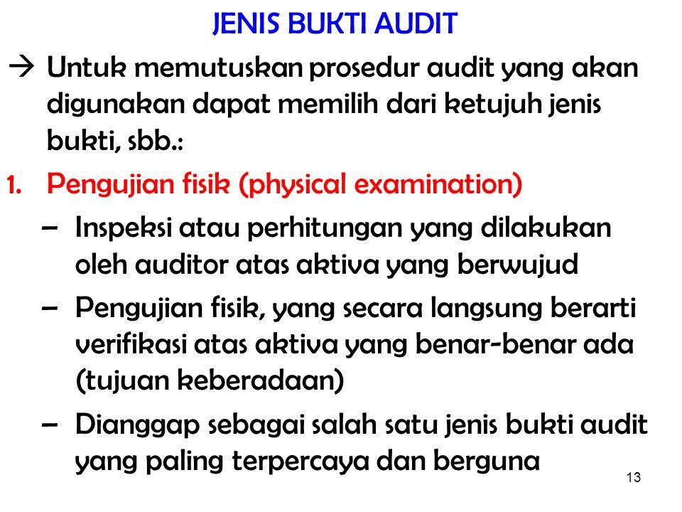 13 JENIS BUKTI AUDIT  Untuk memutuskan prosedur audit yang akan digunakan dapat memilih dari ketujuh jenis bukti, sbb.: 1.Pengujian fisik (physical e