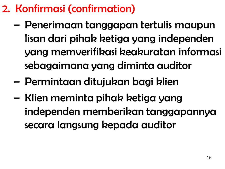 15 2. Konfirmasi (confirmation) –Penerimaan tanggapan tertulis maupun lisan dari pihak ketiga yang independen yang memverifikasi keakuratan informasi
