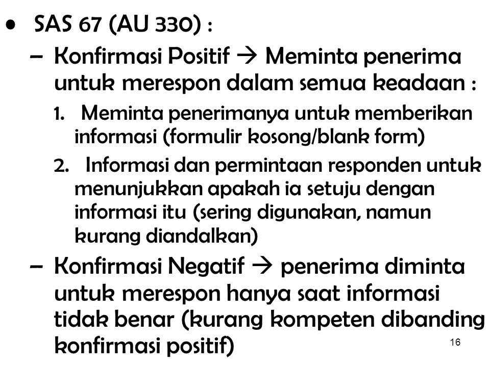 16 SAS 67 (AU 330) : –Konfirmasi Positif  Meminta penerima untuk merespon dalam semua keadaan : 1. Meminta penerimanya untuk memberikan informasi (fo