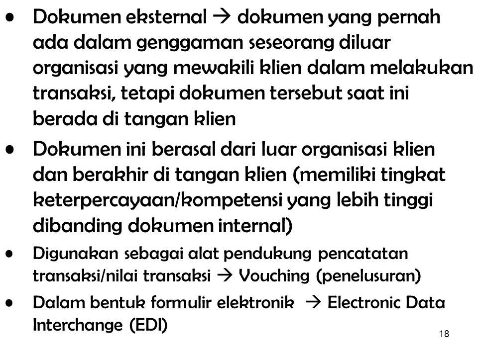 18 Dokumen eksternal  dokumen yang pernah ada dalam genggaman seseorang diluar organisasi yang mewakili klien dalam melakukan transaksi, tetapi dokum