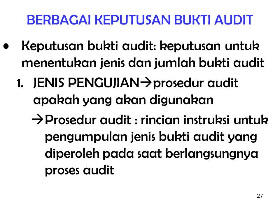 27 BERBAGAI KEPUTUSAN BUKTI AUDIT Keputusan bukti audit: keputusan untuk menentukan jenis dan jumlah bukti audit 1.JENIS PENGUJIAN  prosedur audit ap