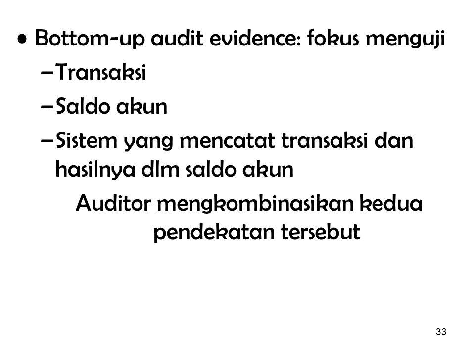 33 Bottom-up audit evidence: fokus menguji –Transaksi –Saldo akun –Sistem yang mencatat transaksi dan hasilnya dlm saldo akun Auditor mengkombinasikan