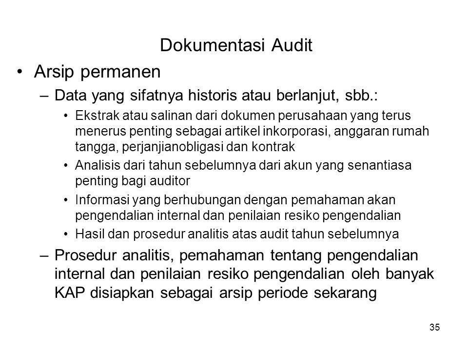 35 Dokumentasi Audit Arsip permanen –Data yang sifatnya historis atau berlanjut, sbb.: Ekstrak atau salinan dari dokumen perusahaan yang terus menerus