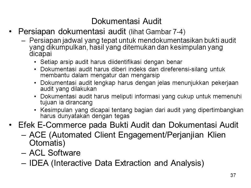 37 Dokumentasi Audit Persiapan dokumentasi audit (lihat Gambar 7-4) –Persiapan jadwal yang tepat untuk mendokumentasikan bukti audit yang dikumpulkan,