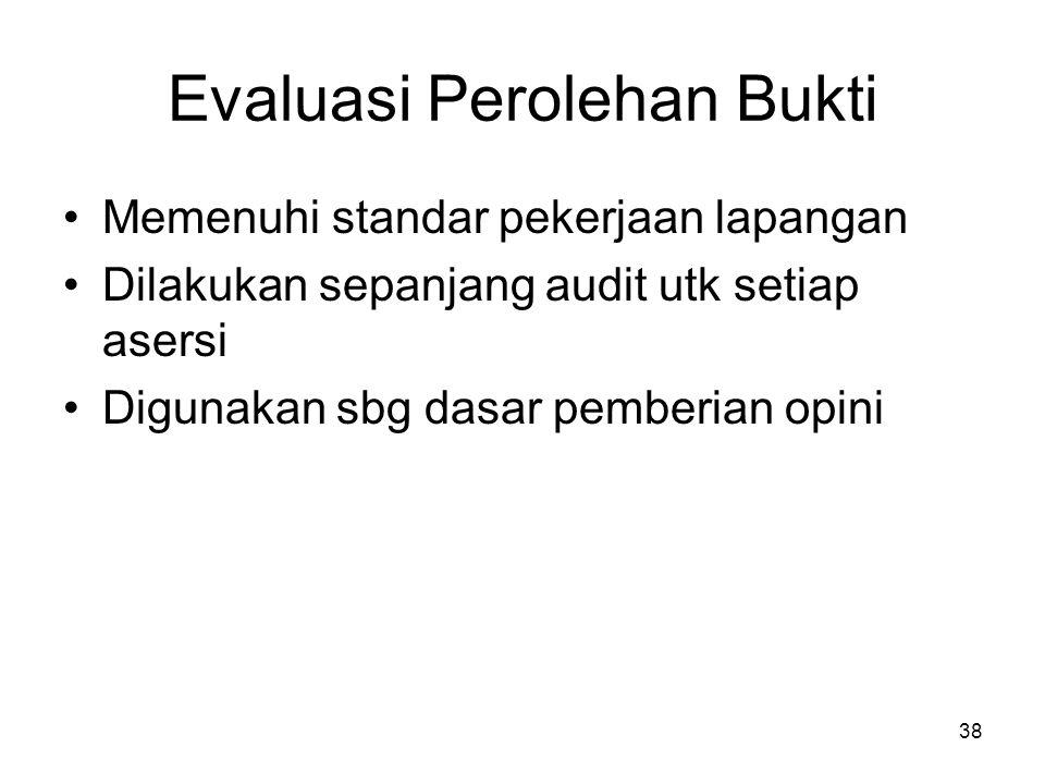 38 Evaluasi Perolehan Bukti Memenuhi standar pekerjaan lapangan Dilakukan sepanjang audit utk setiap asersi Digunakan sbg dasar pemberian opini