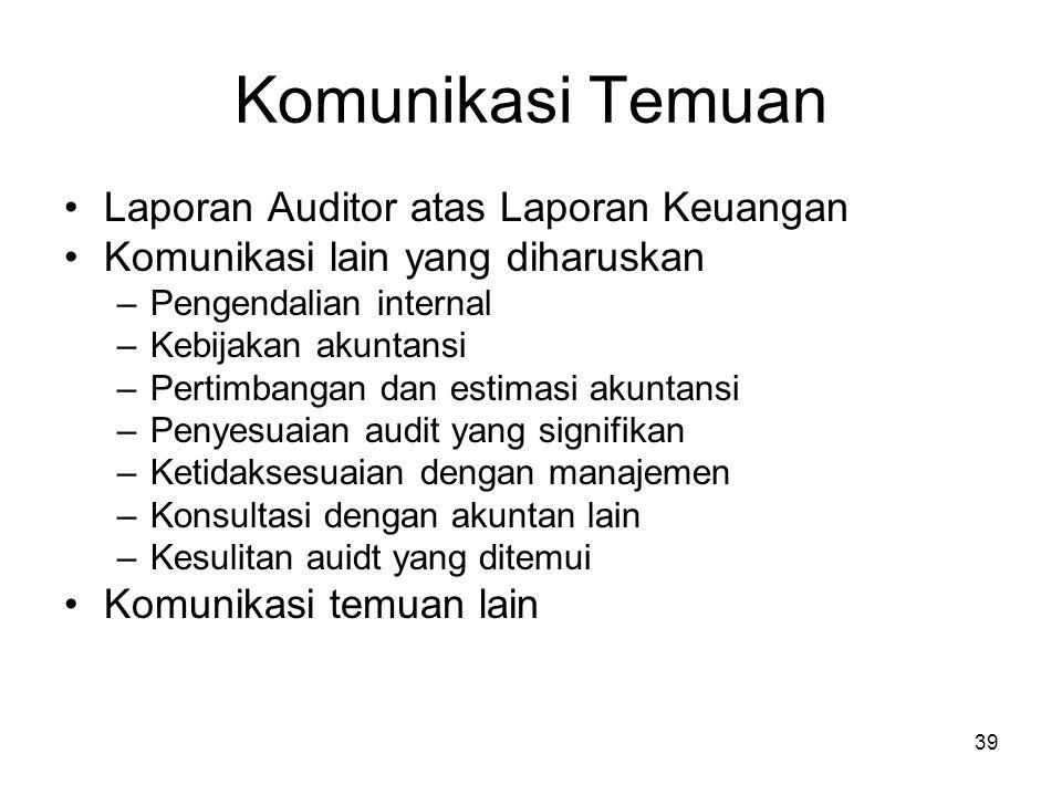 39 Komunikasi Temuan Laporan Auditor atas Laporan Keuangan Komunikasi lain yang diharuskan –Pengendalian internal –Kebijakan akuntansi –Pertimbangan d