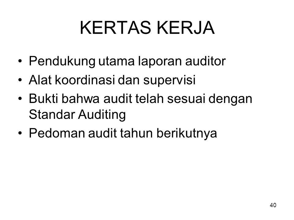40 KERTAS KERJA Pendukung utama laporan auditor Alat koordinasi dan supervisi Bukti bahwa audit telah sesuai dengan Standar Auditing Pedoman audit tah