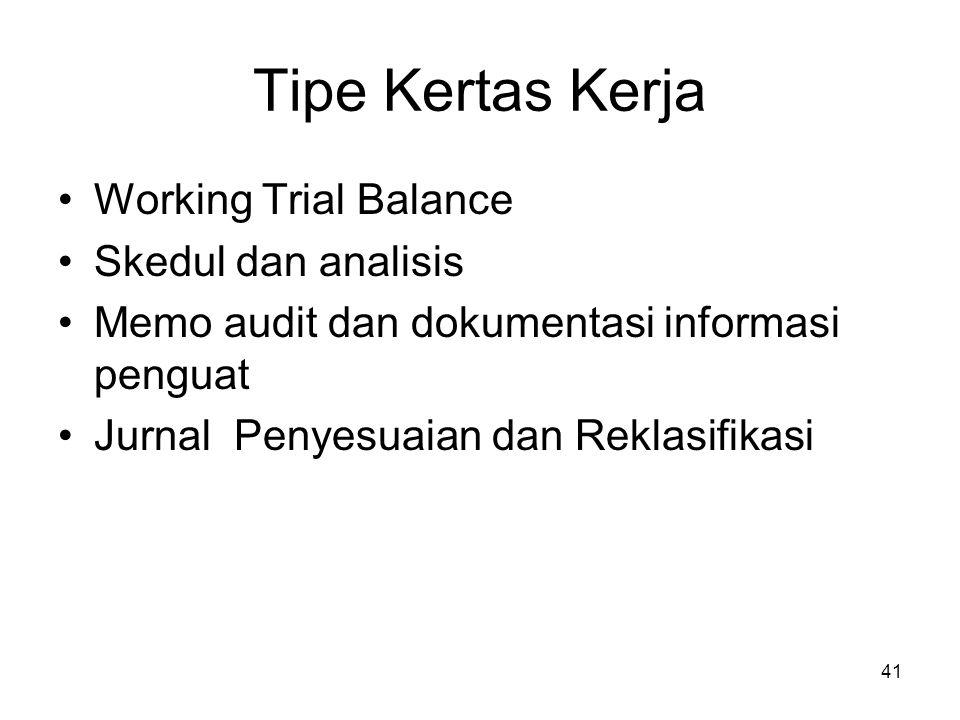 41 Tipe Kertas Kerja Working Trial Balance Skedul dan analisis Memo audit dan dokumentasi informasi penguat Jurnal Penyesuaian dan Reklasifikasi