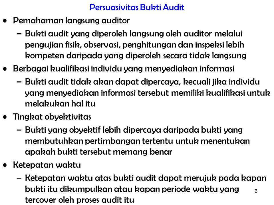 6 Persuasivitas Bukti Audit Pemahaman langsung auditor –Bukti audit yang diperoleh langsung oleh auditor melalui pengujian fisik, observasi, penghitun