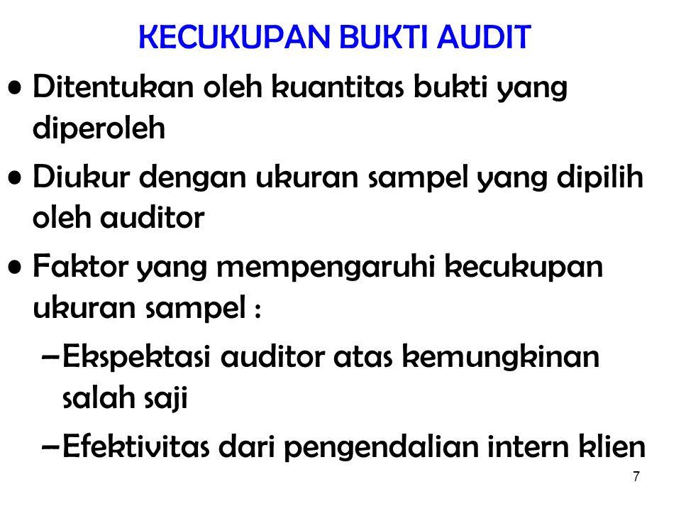7 KECUKUPAN BUKTI AUDIT Ditentukan oleh kuantitas bukti yang diperoleh Diukur dengan ukuran sampel yang dipilih oleh auditor Faktor yang mempengaruhi
